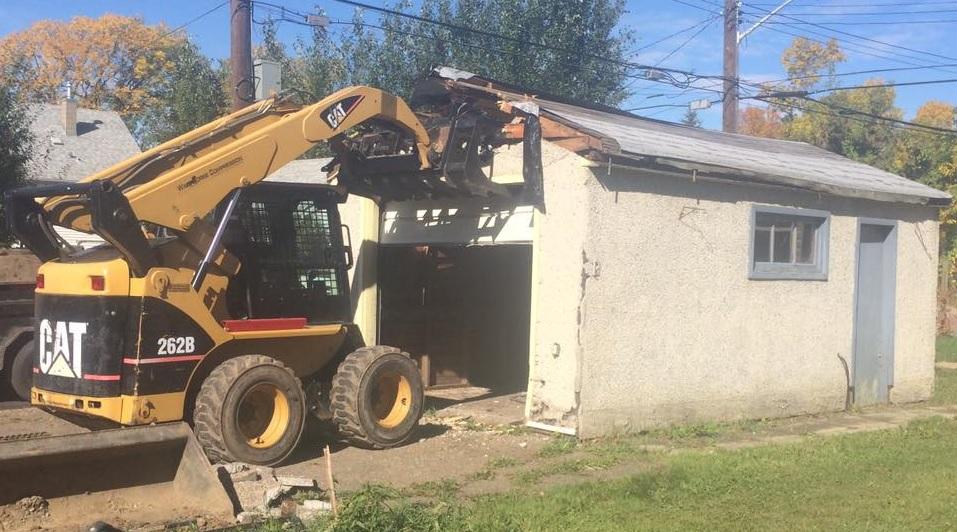 garage demolition. Black Bedroom Furniture Sets. Home Design Ideas